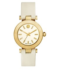 Tory Burch The Classic Goldtone Stainless Steel Leather Bracelet Watch Ivory