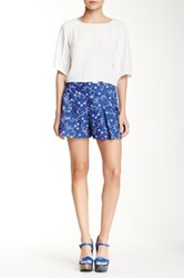 Lavand Pleated Print Short Blue