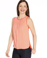 Jones New York Collection Chevron Stripe Shell Top White Red Coral