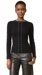 Jonathan Simkhai Beaded Crew Neck Sweater Black