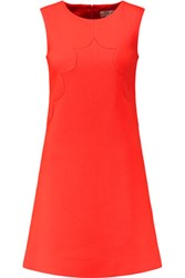 Goat Neve Scalloped Wool Crepe Mini Dress Bright Orange