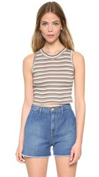 Edith A. Miller Sleeveless Crop Top Anniversary Stripe Multi