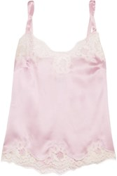 Dolce And Gabbana Lace Trimmed Stretch Silk Blend Satin Camisole Baby Pink