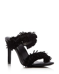 Joie Poppi High Heel Fringe Slide Sandals Black