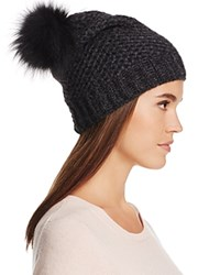 Inverni Slouchy Beanie With Coyote Fur Pom Pom Charcoal