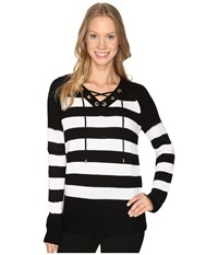 Calvin Klein Striped Lace Up Sweater Black White Black Women's Sweater