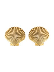 Yves Saint Laurent Vintage Shell Earrings Metallic