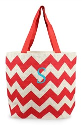 Cathy's Concepts Personalized Chevron Print Jute Tote Red Red Parchment S