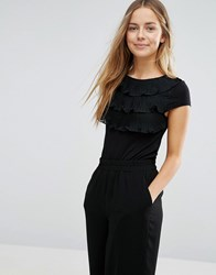Vero Moda Tiered Ruffle Front Shirt With Cap Sleeves Black