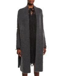 Elie Tahari Klara Long Knit Cardigan Granite Melange