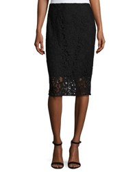 T Tahari Lace Overlay Pencil Skirt Black