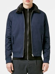 Topman Navy Faux Fur Lined Flight Jacket Blue