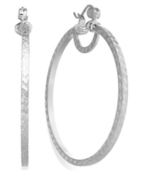 Sis By Simone I Smith Platinum Over Sterling Silver Earrings Extra Large Woven Cut Hoop Earrings