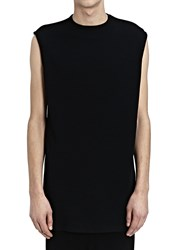 Thamanyah Sleeveless Crew Neck Long T Sh Black