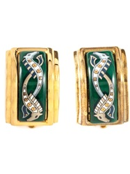 Hermes Vintage Sea Horse Earrings Green
