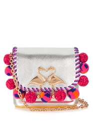 Sophia Webster Claudie Embellished Leather Cross Body Bag Silver Multi