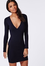 Missguided Jersey Wrap Bodycon Dress Navy Blue