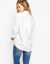Asos Slim Boyfriend White Shirt With Pleat Detail Back White