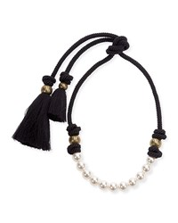 Lanvin Short Pearly Necklace With Tassel Ends 17.3' Pearl