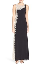 Xscape Evenings Women's Embroidered Mesh And Jersey Gown