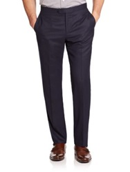 Isaia Flat Front Italian Wool Pants Navy Blue Charcoal Brown