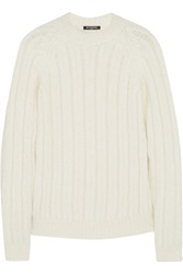 Balmain Ribbed Angora Blend Sweater White