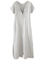 Poetry Stripe Buttoned Dress Pale Grey