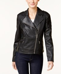 Inc International Concepts Embroidered Faux Leather Moto Jacket Only At Macy's Deep Black