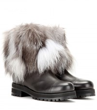 Jimmy Choo Diana Fur And Leather Boots Black