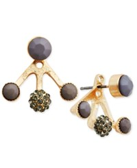 Inc International Concepts Gold Tone Gray Bead And Black Crystal Earring Jackets Only At Macy's Grey