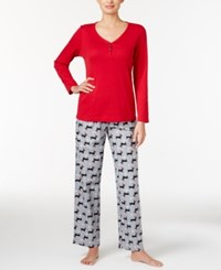 Charter Club Henley Top And Printed Flannel Pants Pajama Set Only At Macy's Red Holiday Dogs