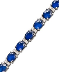 Effy Collection Velvet Bleu By Effy Sapphire 12 Ct. T.W. And Diamond 1 4 Ct. T.W. Tennis Bracelet In 14K White Gold