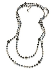 Carolee Flower District Jet Beaded Layer Necklace Hematite