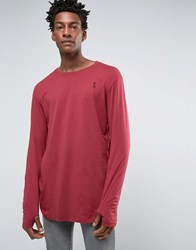 Religion Long Sleeve Longline Top With Thumb Hole Detail Tibetan Red