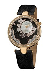 Akribos Xxiv Women's Mother Of Pearl Flower Dial Diamond Quartz Watch Black