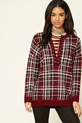 Forever 21 Lace Up Plaid Sweater