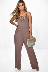 Boohoo Annabelle Lace Up Detail Jumpsuit Mocha
