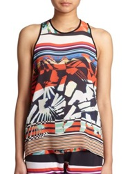 Clover Canyon Ink Strokes Keyhole Tank Top Multi