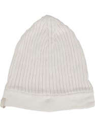 11 By Boris Bidjan Saberi Logo Embroidered Ribbed Beanie White