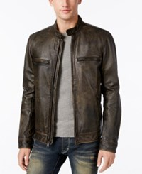 Lucky Brand Men's Cafe Racer Leather Moto Jacket Distressed Black