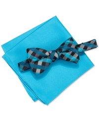 Alfani Men's Mars Gingham Bow Tie And Solid Pocket Square Set Only At Macy's Aqua