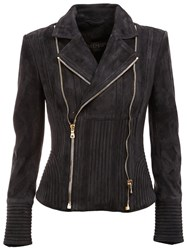 Balmain Ribbed Accent Biker Jacket Blue
