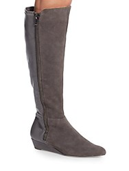 Ellen Tracy Stillano Leather And Suede Boots Grey