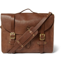 J.Crew Montague Distressed Leather Satchel Brown