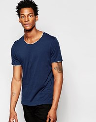 Sisley T Shirt With Raw Edges Navy Blue