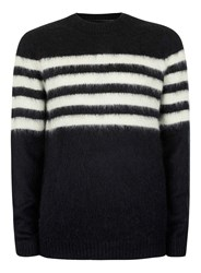 Topman Black And White Stripe Fluffy Jumper Containing Mohair