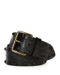 Tomas Maier Tooled Leather Belt W Studs Black Men's Size M 32In 80Cm