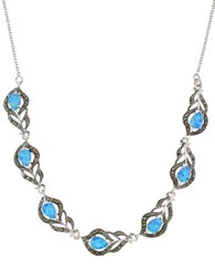 Lord And Taylor Sterling Silver Faux Opal Feather Frontal Necklace Blue Silver
