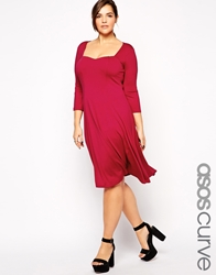 Asos Curve 3 4 Sleeve Skater Dress With Sweetheart Neck In Longer Length Pink