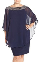 Xscape Evenings Plus Size Women's Xscape Embellished Chiffon Overlay Jersey Sheath Dress